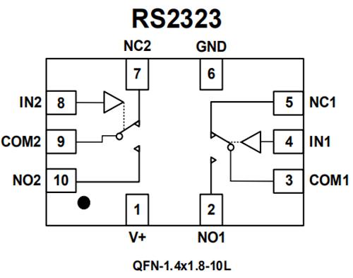 微功耗超小封装双路单刀双掷模拟开关RS2323用于TWS耳机,开关切