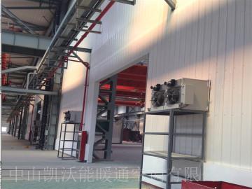 西安中金钢构喷漆车间使用间燃式轴流暖风机