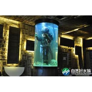 展示创意鱼缸-圆柱形鱼缸