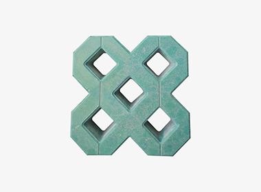 双8字绿色植草砖
